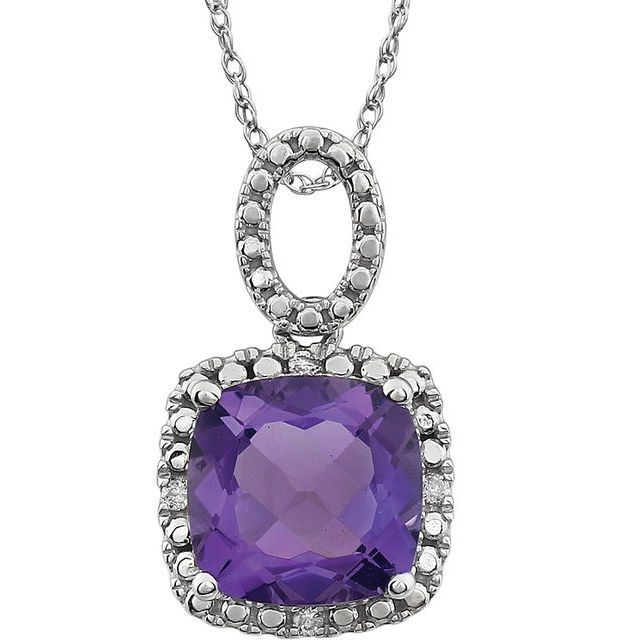 "14K White Amethyst & .03 CTW Diamond 18"" Necklace"