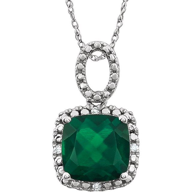"14K White Emerald - Lab-Grown & .03 CTW Diamond 18"" Necklace"