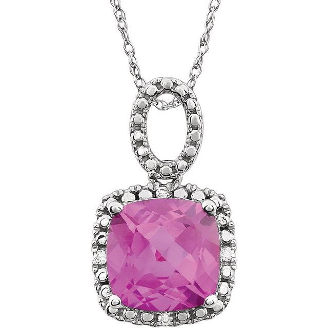 "14K White Pink Sapphire - Lab-Grown & .03 CTW Diamond 18"" Necklace"