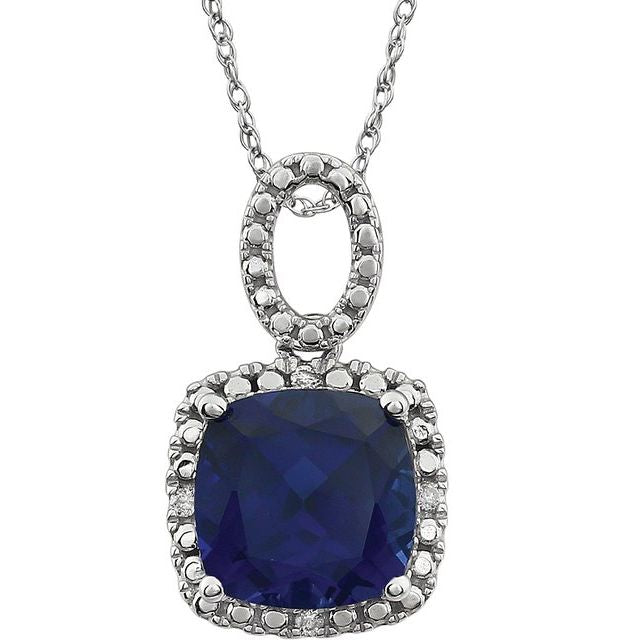 "14K White Blue Sapphire - Lab-Grown & .03 CTW Diamond 18"" Necklace"