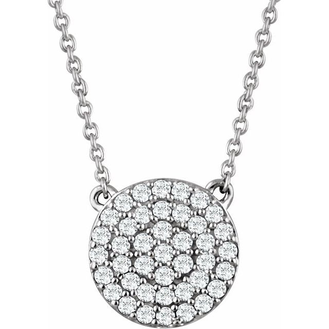 "14K White 1/3 CTW Diamond Cluster 16-18"" Necklace"