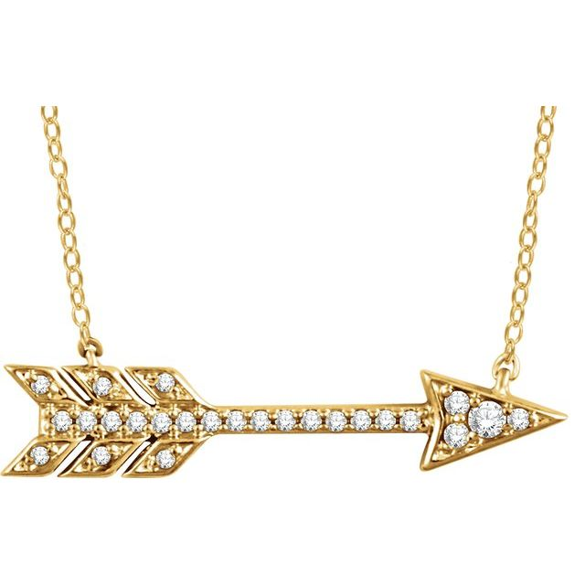 "14K Yellow 1/10 CTW Diamond Arrow 18"" Necklace"