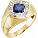 Men's Created Blue Sapphire & Diamond Halo-Style Ring (9862743)
