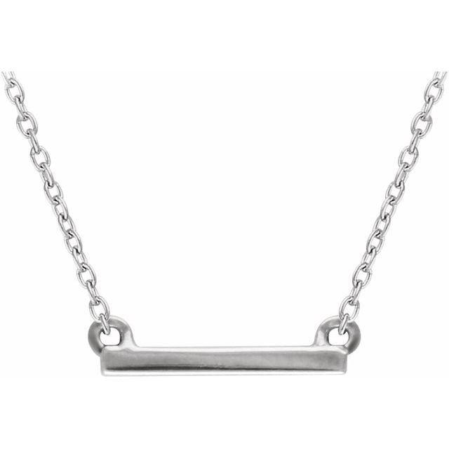 "14K White 18x1.5 mm Petite Bar 16-18"" Necklace"