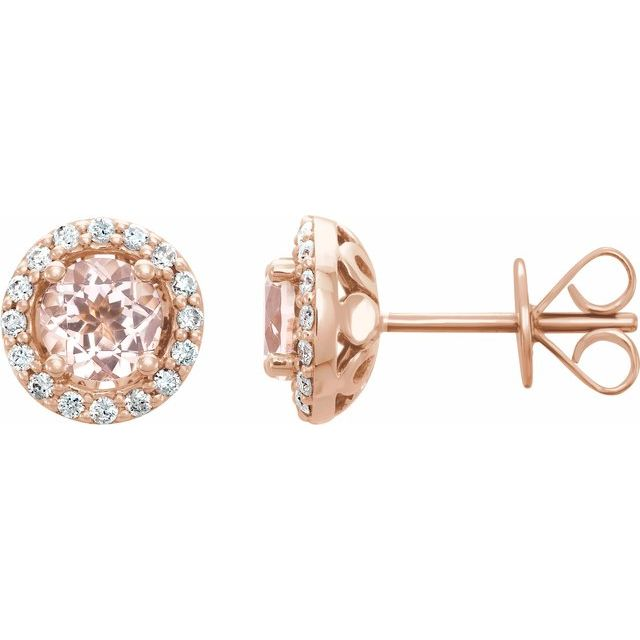 14K Rose Morganite & 1/5 CTW Diamond Earrings