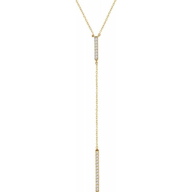"14K Yellow 1/5 CTW Diamond Bar ""Y"" 16-18"" Necklace"