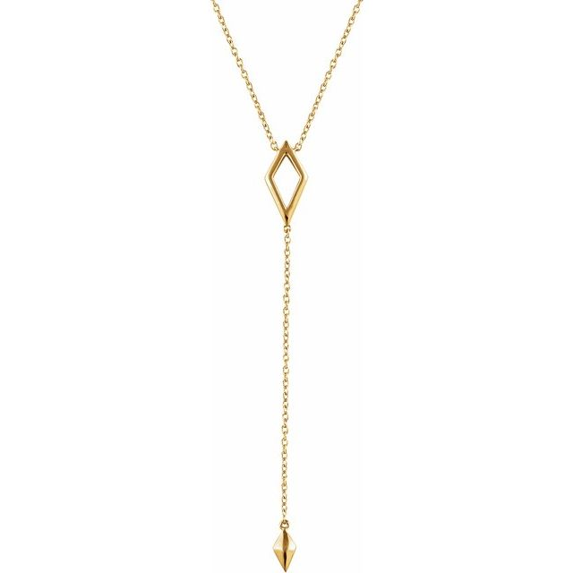 "14K Yellow Geometric Y 16-18"" Necklace"