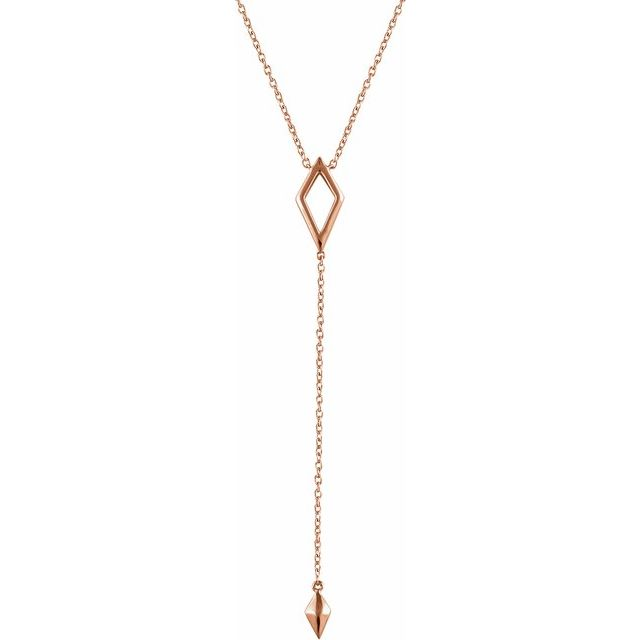 "14K Rose Geometric Y 16-18"" Necklace"