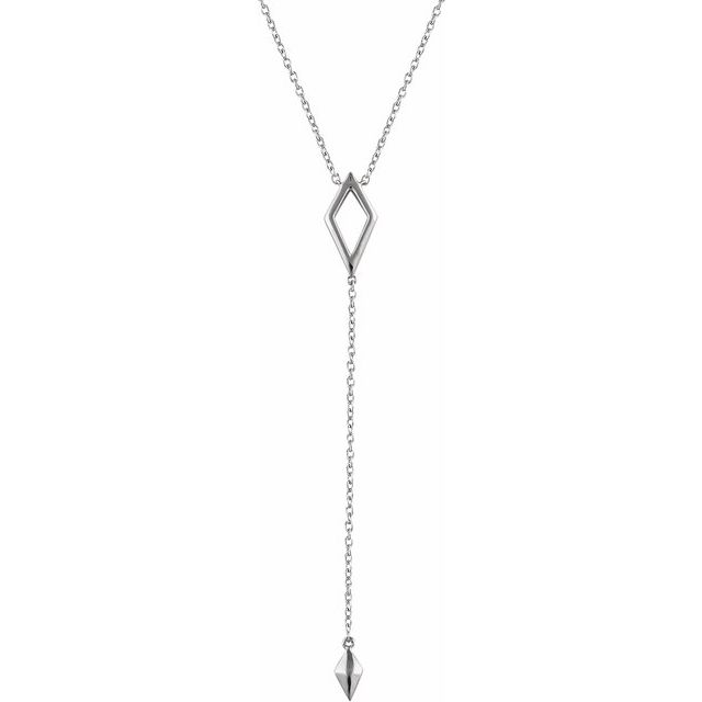 "14K White Geometric Y 16-18"" Necklace"