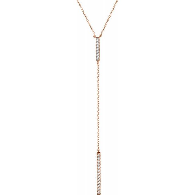 "14K Rose 1/5 CTW Diamond Bar ""Y"" 16-18"" Necklace"