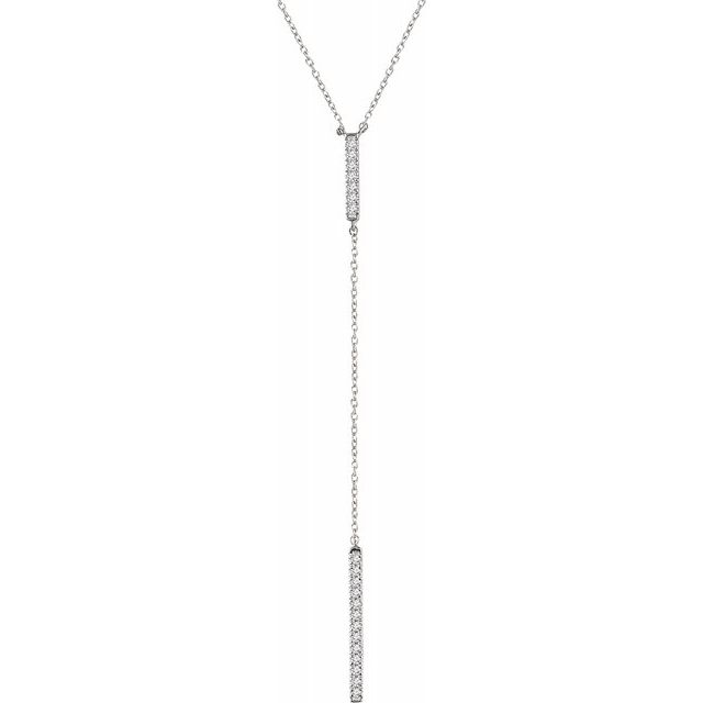 "14K White 1/5 CTW Diamond Bar ""Y"" 16-18"" Necklace"