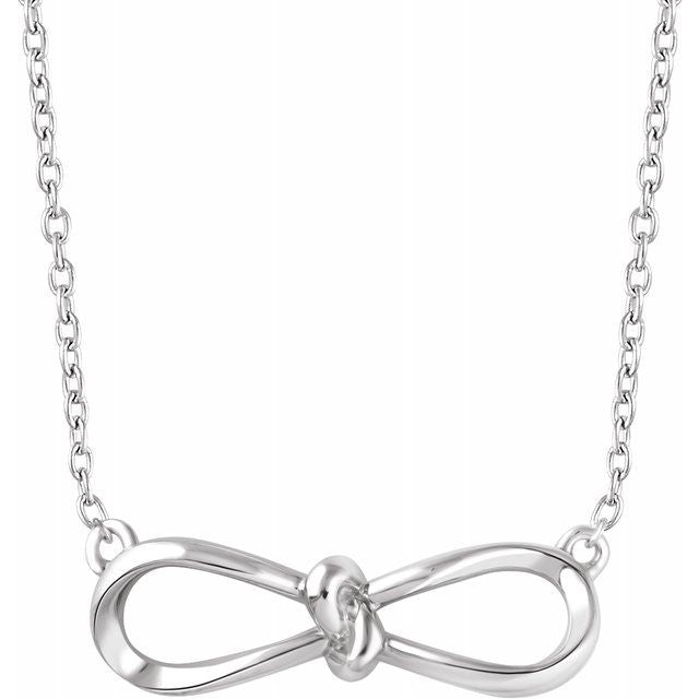 "Sterling Silver Bow 18"" Necklace"