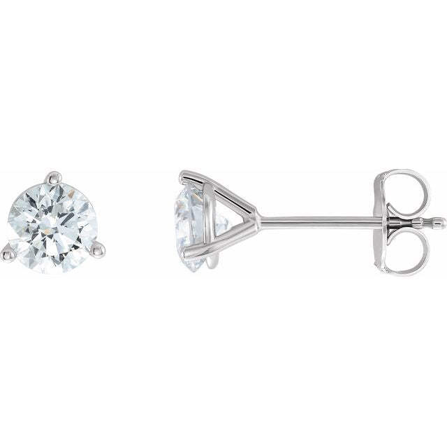 14K White 1 1/4 CTW Diamond - Lab-Grown Stud Earrings
