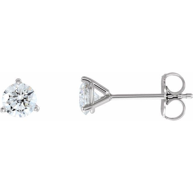 14K White 3/4 CTW Diamond - Lab-Grown Stud Earrings