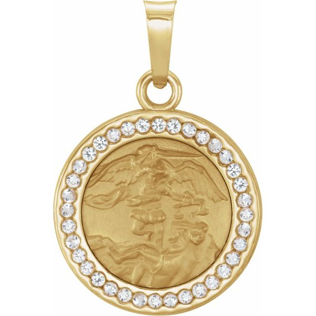 14K Yellow St. Michael Medal with White Sapphire - Lab-Growns