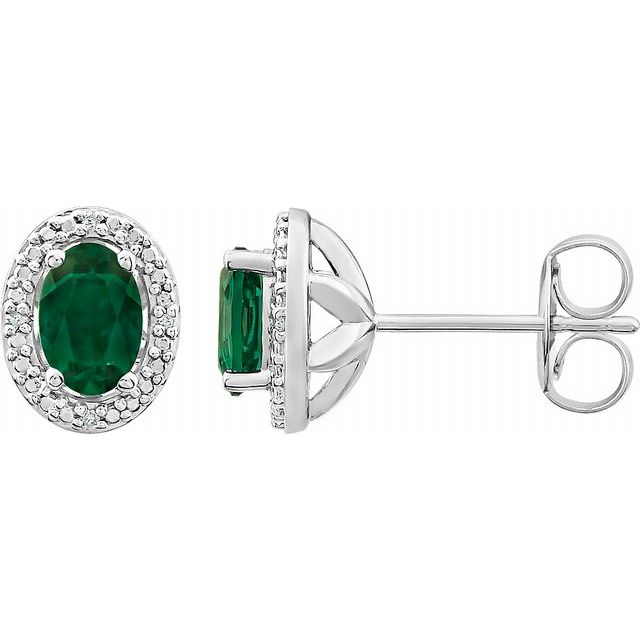 Sterling Silver Emerald - Lab-Grown & .025 CTW Diamond Earrings