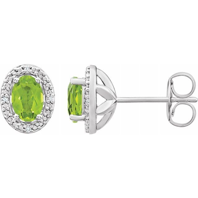 Sterling Silver Peridot & .025 CTW Diamond Earrings
