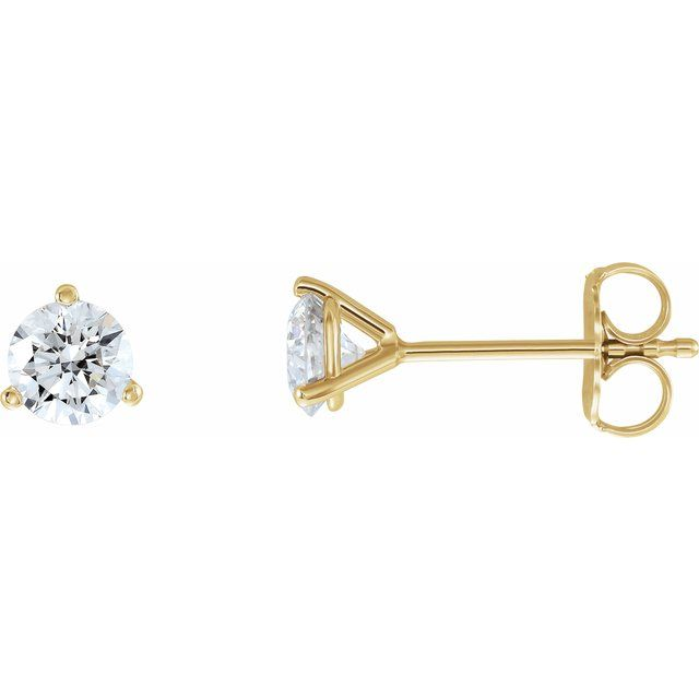 14K Yellow 3/4 CTW Diamond - Lab-Grown Stud Earrings