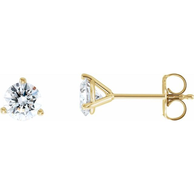 14K Yellow 1 CTW Diamond - Lab-Grown Stud Earrings