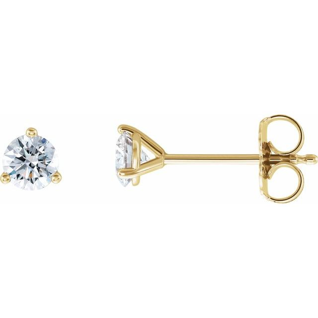 14K Yellow 1/2 CTW Diamond - Lab-Grown Stud Earrings