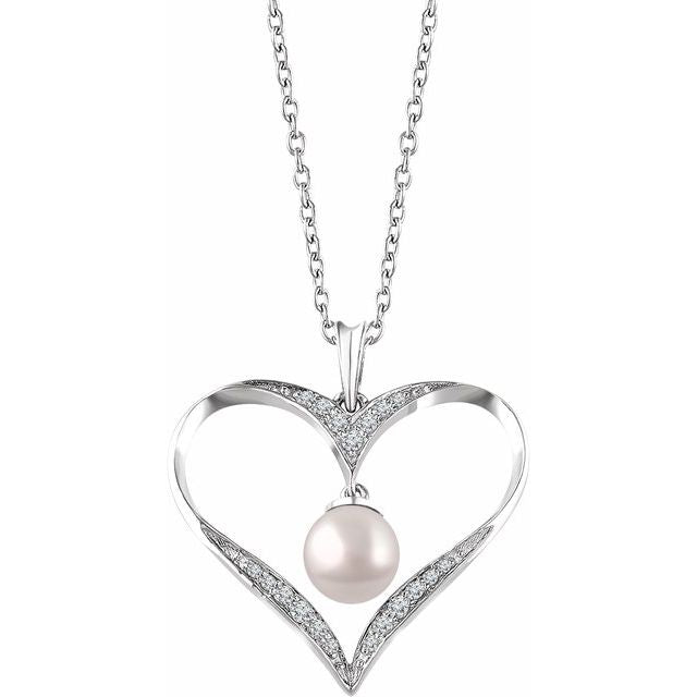 "Sterling Silver Freshwater Cultured Pearl & 1/6 CTW Diamond Heart 16-18"" Necklace"