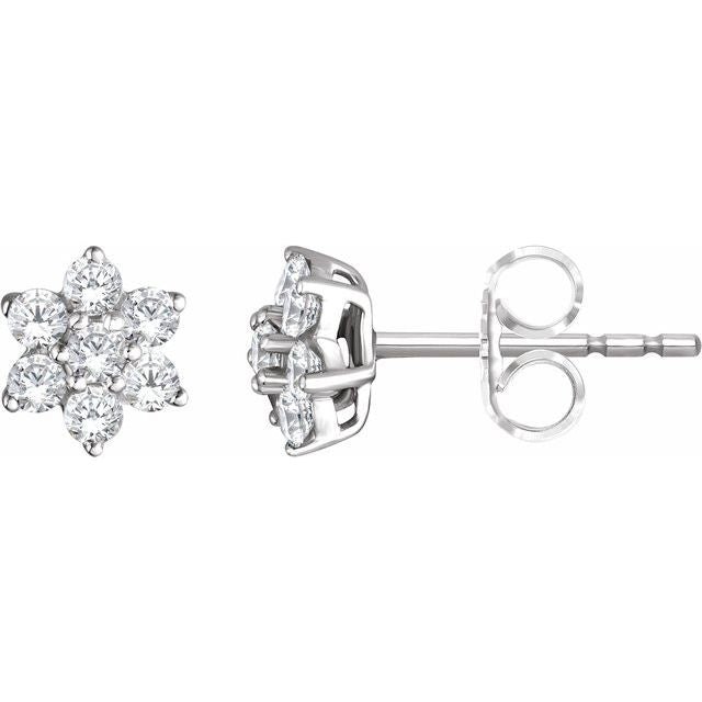 14K White 3/8 CTW Diamond Flower Earrings