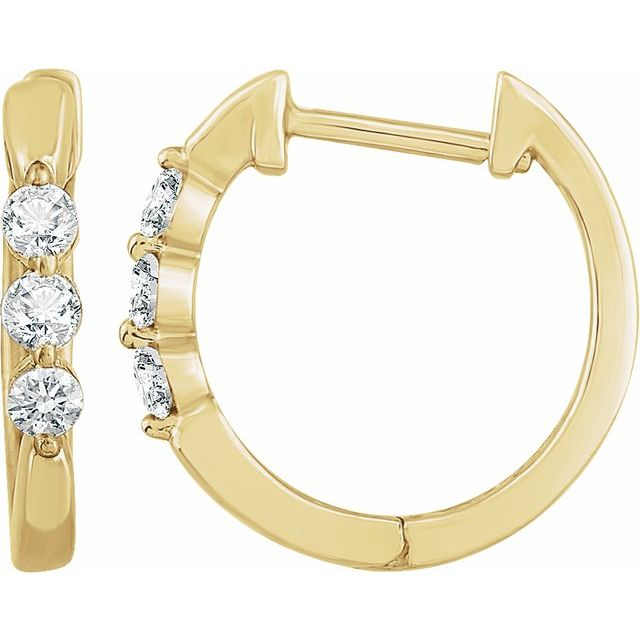 14K Yellow 1/4 CTW Diamond Hoop Earrings