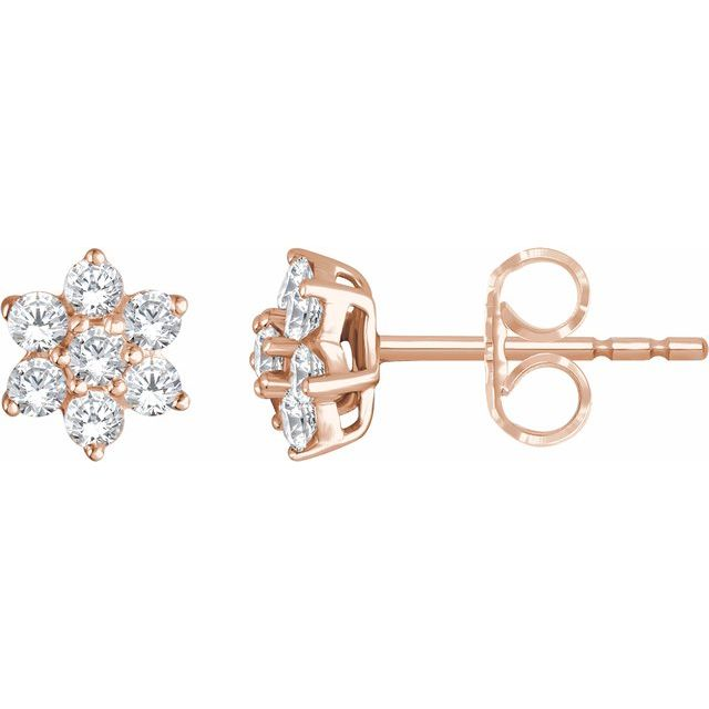 14K Rose 3/8 CTW Diamond Flower Earrings