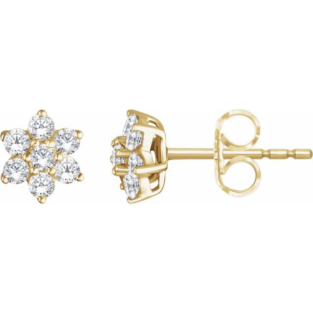 14K Yellow 3/8 CTW Diamond Flower Earrings