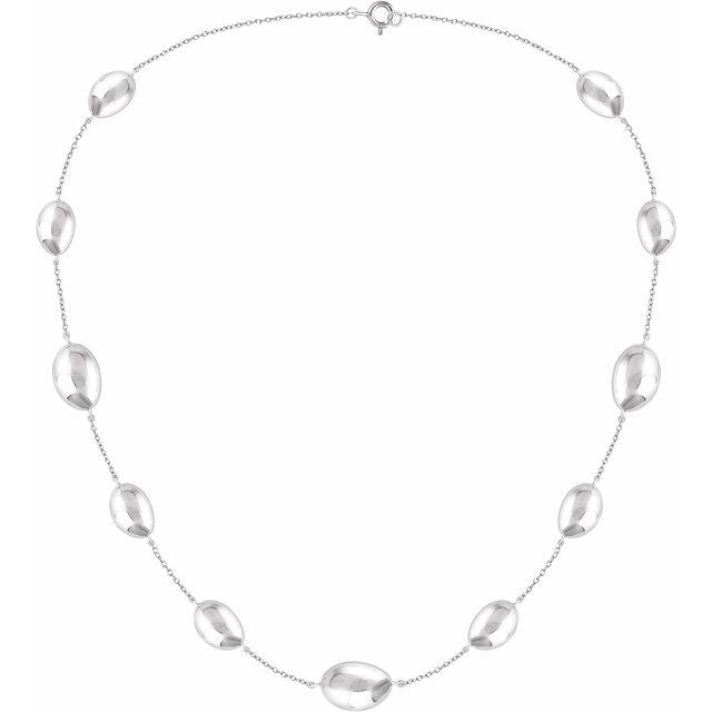 "Sterling Silver Station 18"" Necklace"