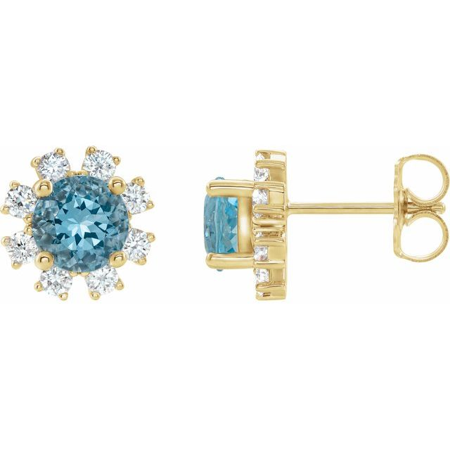 14K Yellow Blue Zircon & 1/2 CTW Diamond Earrings