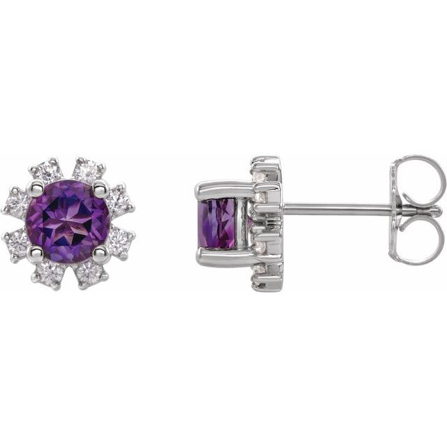 14K White Amethyst & 1/5 CTW Diamond Earrings