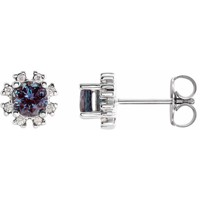 14K White Alexandrite - Lab-Grown & .07 CTW Diamond Earrings