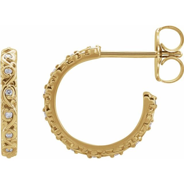0.06 CTW .06 CTW Diamond Sculptural Hoop Earrings