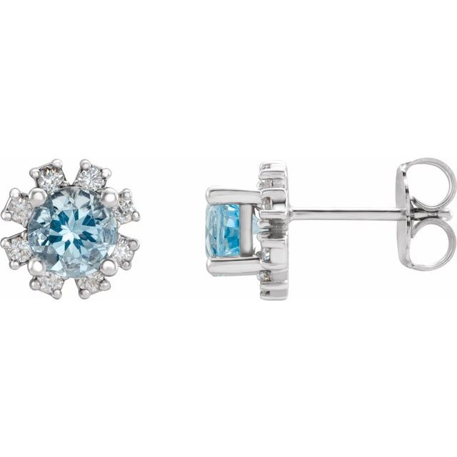 14K White Aquamarine & 1/2 CTW Diamond Earrings