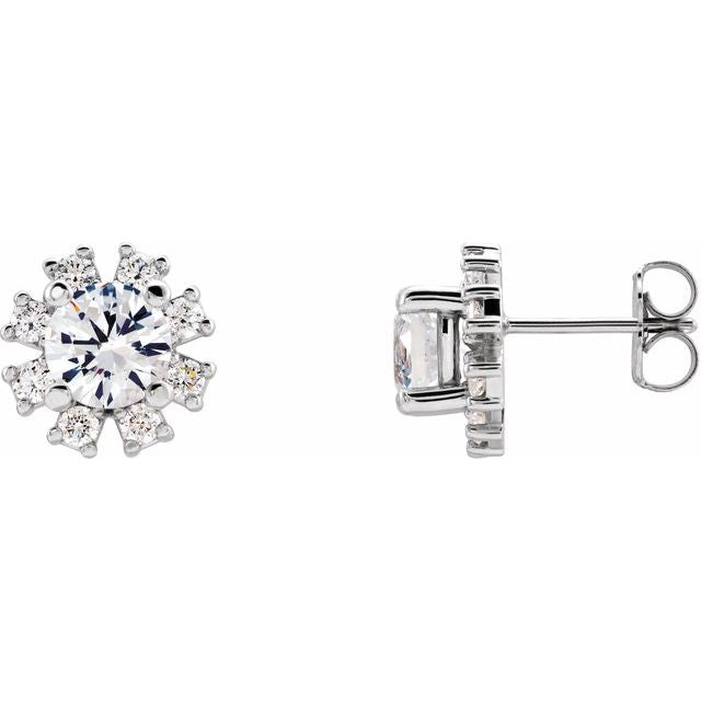 14K White Sapphire & 1/2 CTW Diamond Earrings