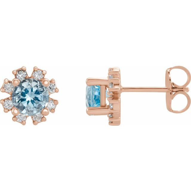 14K Rose Aquamarine & 1/2 CTW Diamond Earrings