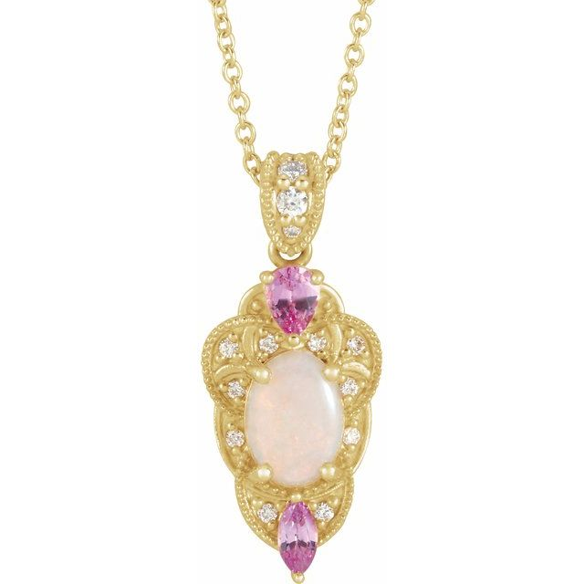 "14K Yellow Opal, Pink Sapphire & 1/10 CTW Diamond Vintage-Inspired 16-18"" Necklace"