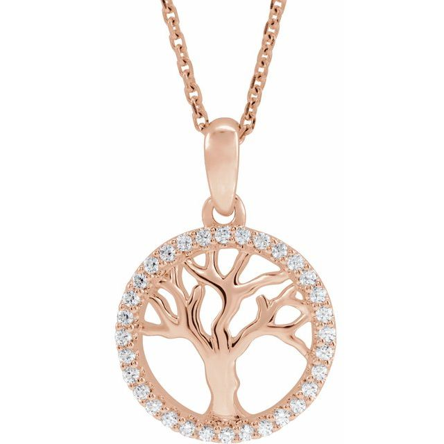 "14K Rose 1/5 CTW Diamond Tree of Life 16-18"" Necklace"