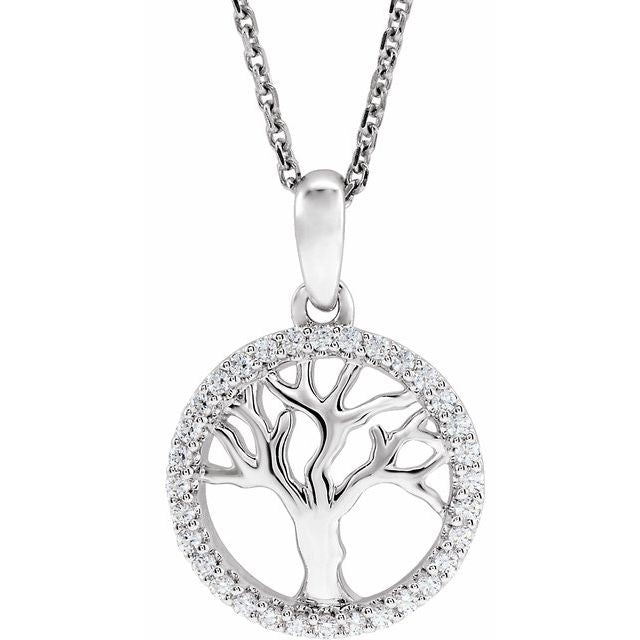 "14K White 1/5 CTW Diamond Tree of Life 16-18"" Necklace"