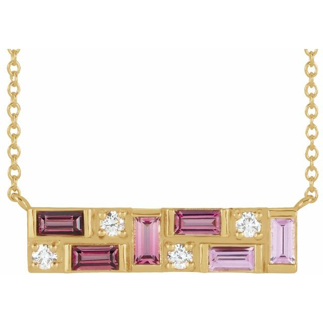 "14K Yellow Pink Multi-Gemstone & 1/8 CTW Diamond Bar 18"" Necklace"