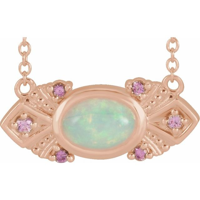 "14K Rose Ethiopian Opal & Pink Sapphire Vintage-Inspired 16"" Necklace"