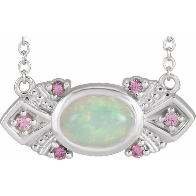 "Platinum Ethiopian Opal & Pink Sapphire Vintage-Inspired 18"" Necklace"