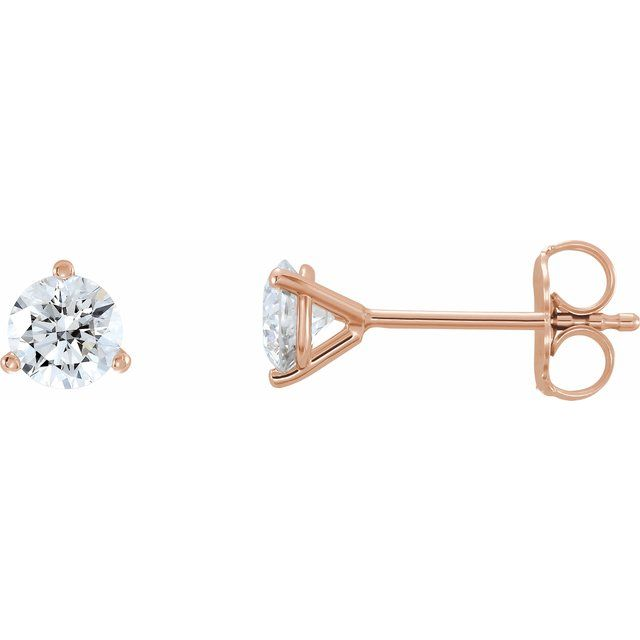 14K Rose 3/4 CTW Diamond - Lab-Grown Stud Earrings