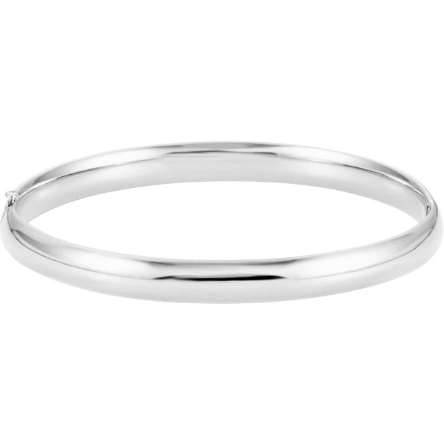 14K White 6.5 mm Hinged Bangle Bracelet
