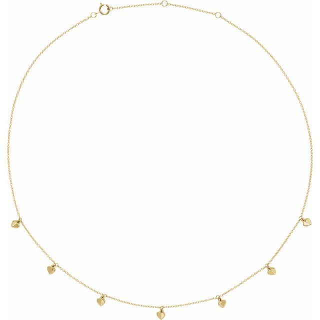 "14K Yellow Heart 7-Station 16-18"" Necklace"
