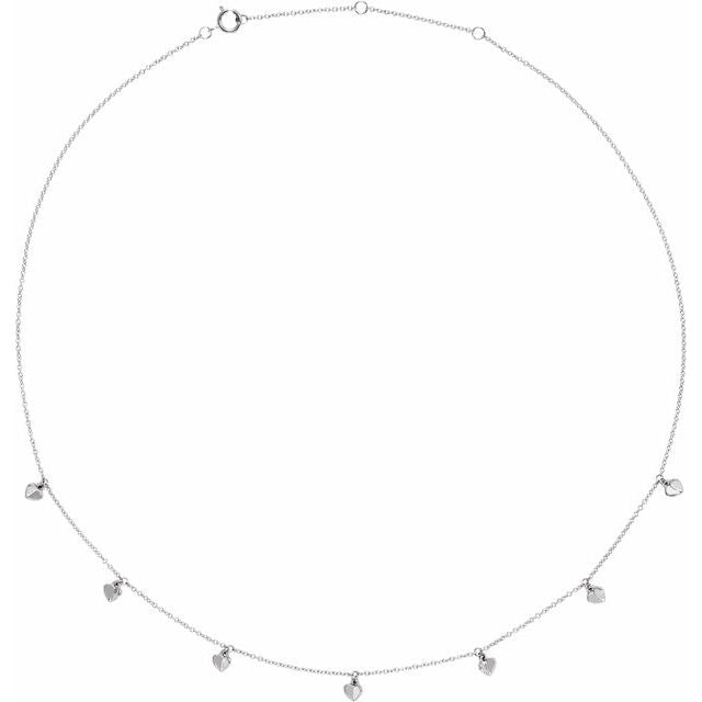 "14K White Heart 7-Station 16-18"" Necklace"
