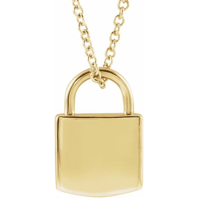 "14K Yellow 12.02x8 mm Engravable Lock 16-18"" Necklace"