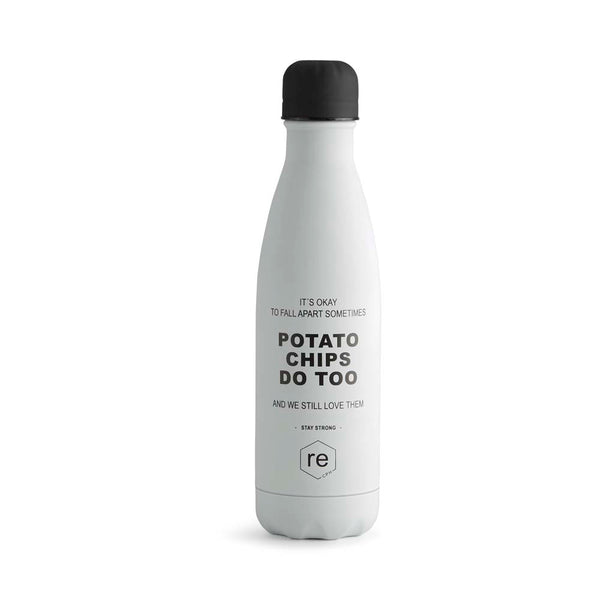Rebottle, potato chip statement, white