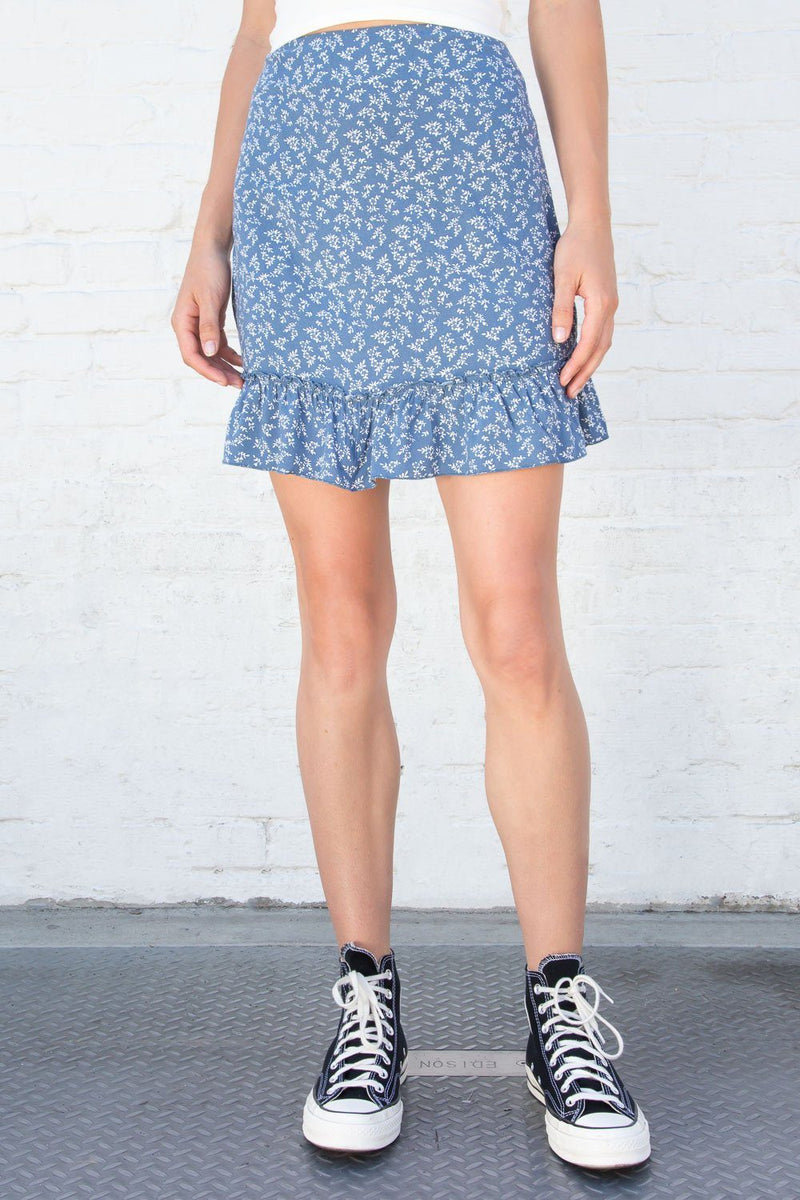 Blue with White Leaf Floral / XS/S